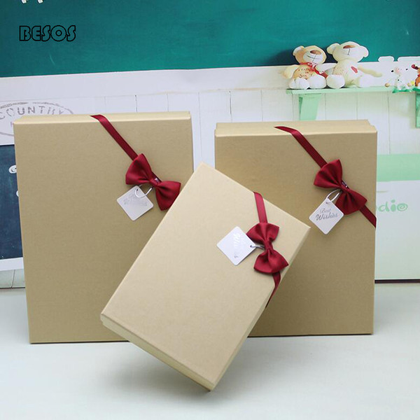 Einfaches Oblong Gift Box Packpapier Farbe Rot Bogen Verschönerung Party Hochzeit Festival Schal Hemd Parfüm Papier Geschenk-Box B304D