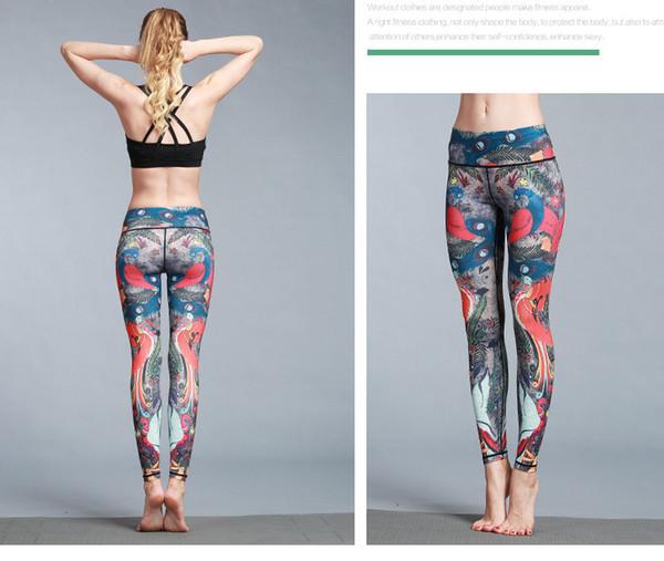 2019 nouveau yoga printemps nouveau pantalon de yoga imprimé paon neuf minutes pantalons de sport en plein air fitness pantalon serré pantalon de yoga élastique