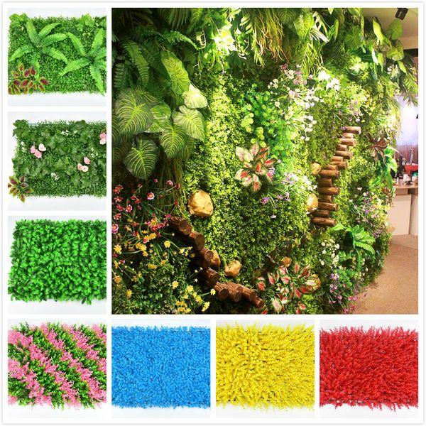 Окружающей среда искусственного газона красочного искусственного дерна стен деликатной завод стена пластики доказательство для свадебного украшения сада