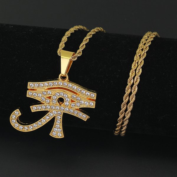 New Hip Hop Pharaoh's Patron Saint of Horus's Eyes Egypt Amulet Eagle Head Eyes Pendant 24inch Stainless Steel Rope Chain