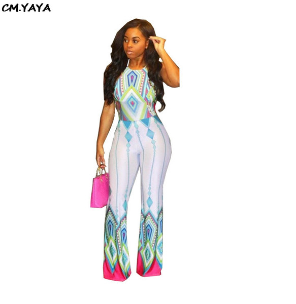 2019 new summer bohemian print sleeveless halter open back wide leg jumpsuit sexy beach club romper playsuit 2color outfit G5027