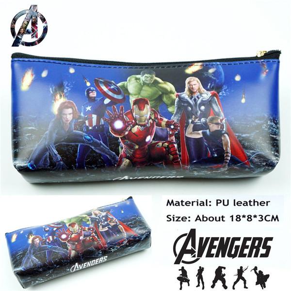 Superhero Comics PU Zipper Pencil Case Student Stationery bag School Pen bag Makeup Case Cosmetic makeup pouch bags