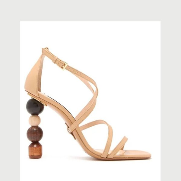 Sexy Moon round ball Geometric Block high heel Sandals Women Black open toe Strange Narrow Band Gladiator Sandals Summer Shoes Women