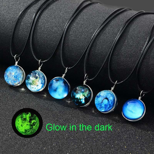 Luminous Glow in the dark Galaxy Universe Collar Star Moon Glass Cabochon Collares Colgantes Joyas de Moda DROP SHIP 162682