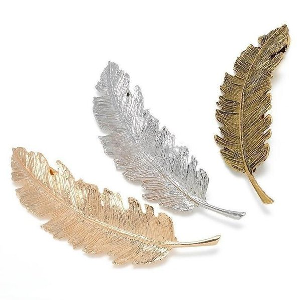 Fashion Women Leaf Feather Hair Clip Metal Geometry Hairpin Barrette Hair Ornament Party Decoration Hair Accessories gift Free Shipping