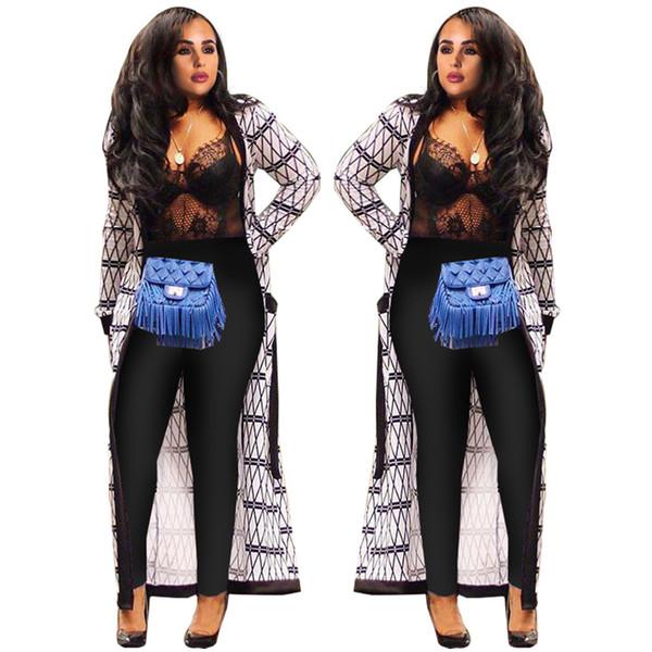 Women Print Cardigan Ape Cape Lady Fashion Geometric Pattern Long Sleeve Sashes Long Beach Outwear Casual Cloak