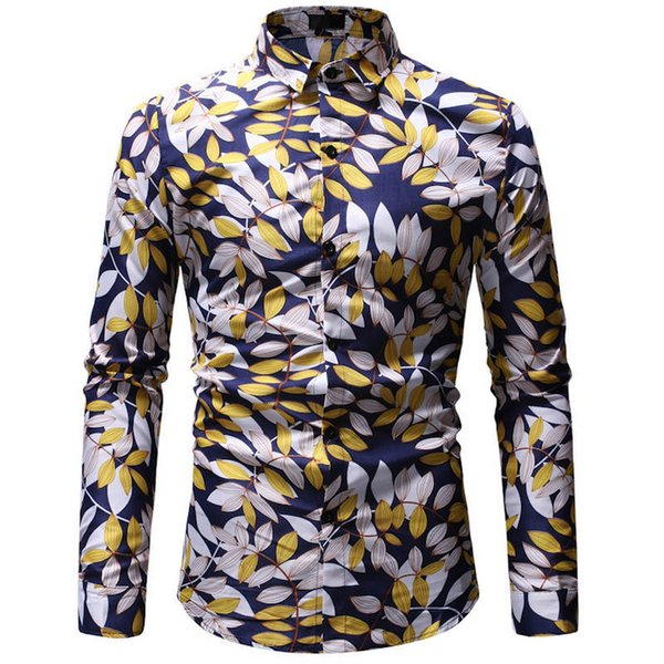 Long-sleeved Hawaiian Beach Men's Beach Shirts Brand with Men's Shirts Size and Colour Casual Wear Resort Colour