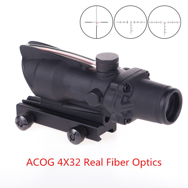 ACOG 4X32 실제 광섬유 사냥 Riflescope 적색 녹색 조명 쉐브론 유리 에칭 십자선 전술 광학 시력