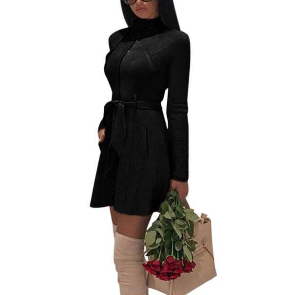 Kadınlar Uzun Kollu Zip Up Palto Faux Süet Düz Renk Standı Yaka Bodycon Coat Kuşaklı Orta Uzun Trençkot S-3XL