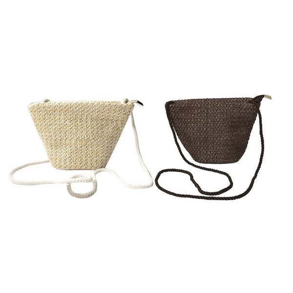 Grass Woven Straw Bags Dual-use Casual Handbags Crossbody Beach Mini Woven Zippered Bag For Women Girl Messenger Shoulder Bags