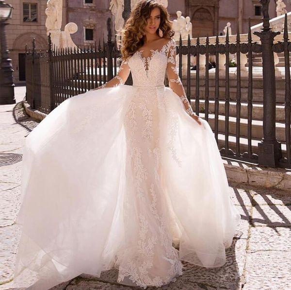 Mangas largas románticas Sirena Vestidos de novia Sheer Neck Encaje Apliques Encaje Apliques Vestido De Noiva Boda Vestidos de novia robe de mariee