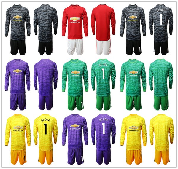 new arrival 0d75c f837e 2019 2020 long leeve 1 de gea jer ey goalkeeper occer et 19 20 goalie david  de gea romero green united adult full football kit uniform