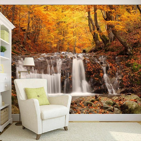 Beautiful Autumn Forest Waterfall Landscape 3d Wall Painting Restaurant Cafe Living Room Bedside Backdrop Wall Mural Wallpaper Pc Wallpapers Pc