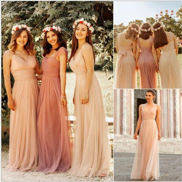 2020 Yeni Ülke Plaj Düğün Elbise Plus Size Uzun nedime yaklaşık 50 $ Ucuz Sıcak Satış elbiseler de telli turna d'honneur