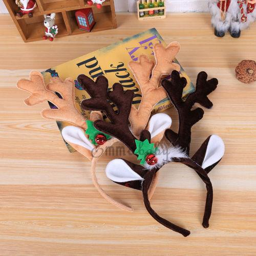 2019 New Christmas Headband Hat Fancy Dress Hat Reindeer Antlers Santa Xmas Kids Adult