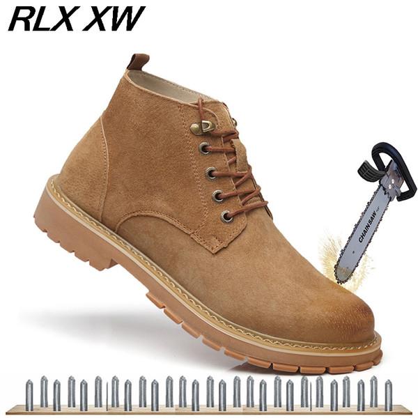 Compre Botas Amarillas De Los Hombres Zapatos De Seguridad Con Punta De Acero De La Moda Botas De Seguridad De Cuero De Vaca Zapatos De Trabajo