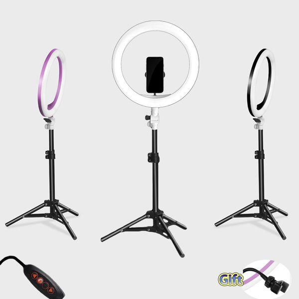 Fotoğraf LED Özçekim Halka Işık üç-hızlı soğuk ve sıcak USB Fiş LampTripod Standı ile kademesiz Aydınlatma Dim