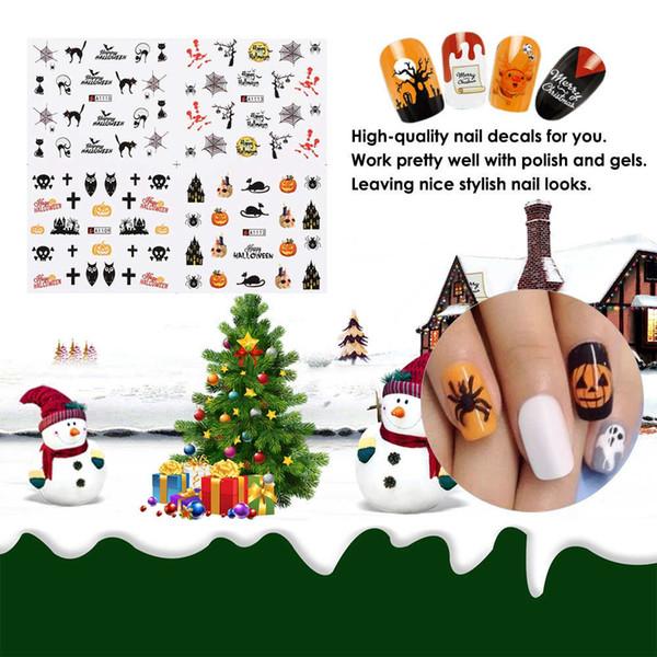 12 Setleri 3D Nail Art Etiketler Çıkartmaları Manikür Kafatası Örümcek Tasarım Su Transferi Sticker Noel Cadılar Bayramı Kabak Noel Ağacı için