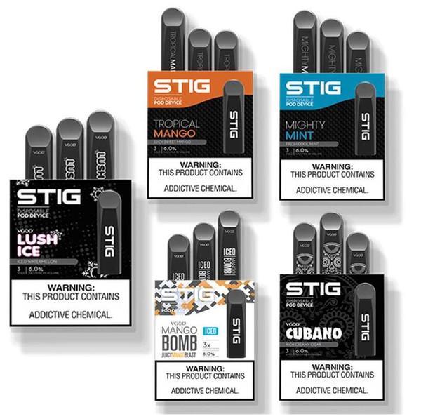 VGOD STIG PODS Tek Kullanımlık Vape Cihazı E-sigara Kitleri 3 adet / paket 1.2 ml 270 mAh Pil Vape Kalem Seti Tek Kullanımlık E-Çiğ Yüksek Kalite