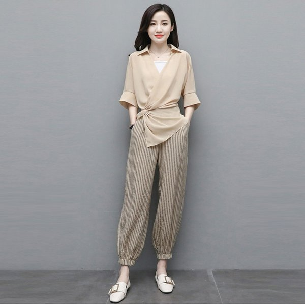 special sales top-rated quality new lower prices 2019 2019 New Summer Fashion Elegant Casual Pant Sets Set Women Flare  Sleeve Blouse And Loose Striped Pencil Pants Suits From Workwell, $39.19 |  ...