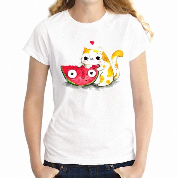 Bir Karpuz Artsy Kızın Tee Yeme Kadın T Shirt Sevimli Kedi