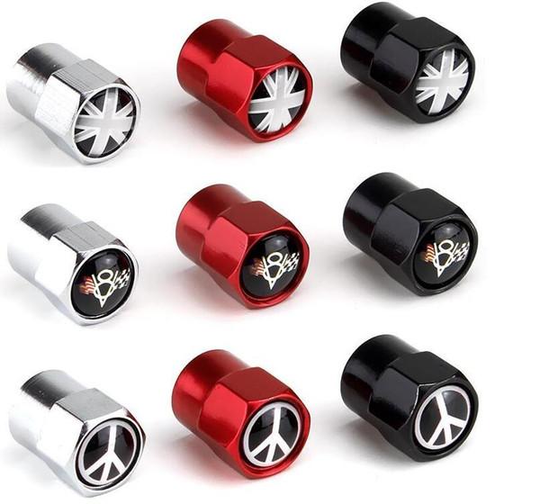 bandiera Union Jack UK V8 lega di alluminio di tre colori mini del metallo valvola della gomma valvole dei pneumatici polvere Berretti Berretto segni distintivo dell'automobile dell'emblema Badges Anti-guerra AMG