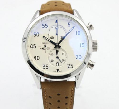 Новый Carrea Calibre 1887 SpaceX Quzrtz VK Хронограф Flyback Секундомер Коричневый кожаный ремень Мужские часы Спортивные часы Gent Man