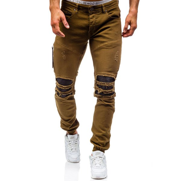 2019 New Mens Jeans Ripped Beggar Holes Pants Korean Style Elasticity Casual Trousers Cool Stretch Man Denim Pants 38