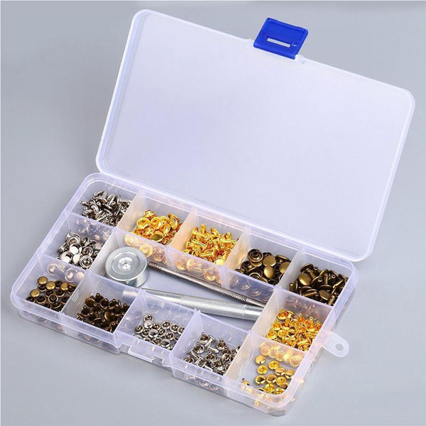 best selling 180pcs set 6mm 8mm Clips Double Cap Rivets Fasteners + Installation Tools Rivets with tool set for windbreaker r30 Button