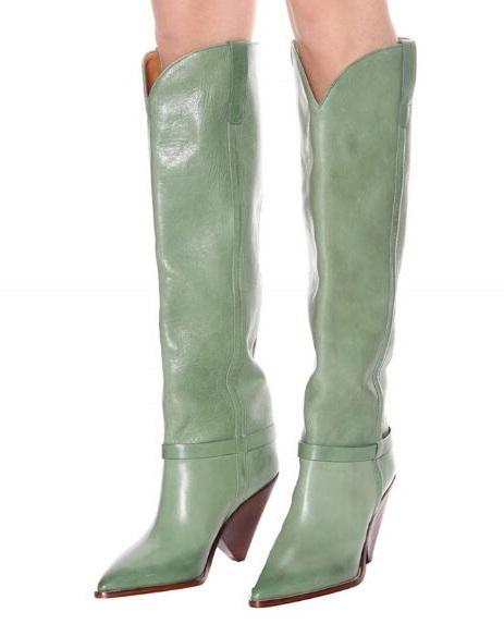 Drop Shipping New 2019 Spring Woman Light Green Pointed Toe Spike Heels Knee High Leather Long Boots V-open Shape Boots Lady