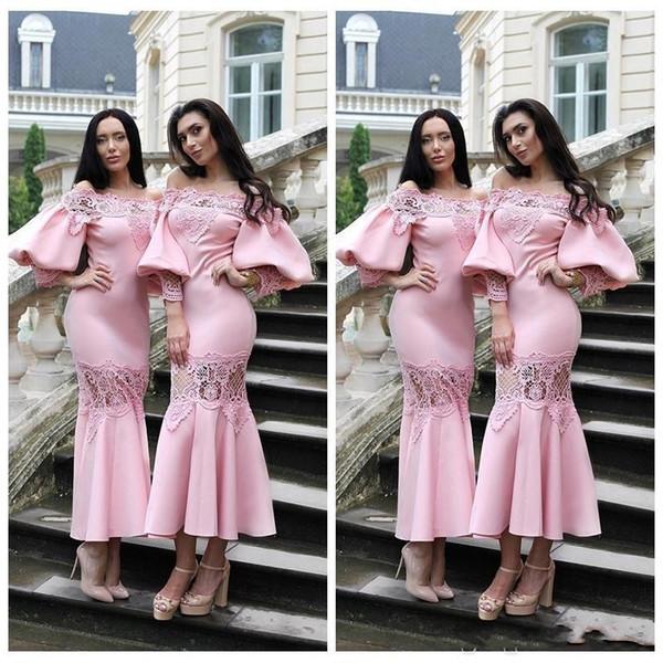 2019 Nova Chegada Rosa País Damas de Honra Vestidos Convidado Do Casamento Vestido Fora Do Ombro Rendas Applique Mangas Poeta Chá Comprimento Maid Of Honor Vestidos