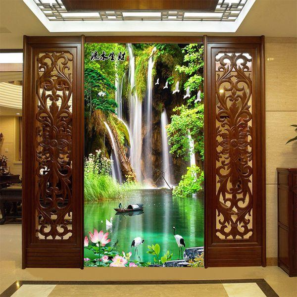 Chino 5d maravilloso papel de pared pintoresco natural sala de estar 3D agua fortuna paisaje pintura murales película revestimiento de paredes