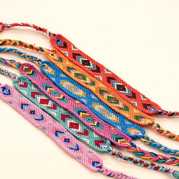 Atacado Folk-Custom Mão Fazer Pulseira Borla Corda Colorida de Algodão Pulseira Cadeia Nepal Pulseiras Designer de Jóias para Mulheres Estilos Mix
