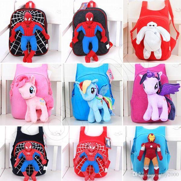 3D Cartoon Pony Zaino per ragazze Kids School Bag Bambino zaini peluche Baby Schoolbag Cartoon Bambini Satchel Mochila Infantil borse bambini giocattoli