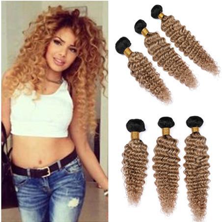 Cheveux Humains Malaisiens # 1B / 27 Blonde Bleue Ombre Vague Profonde Bouclés Armure Faisceaux 3Pcs Brun Clair Ombre Ondulés Vierge Cheveux Trames 10-30