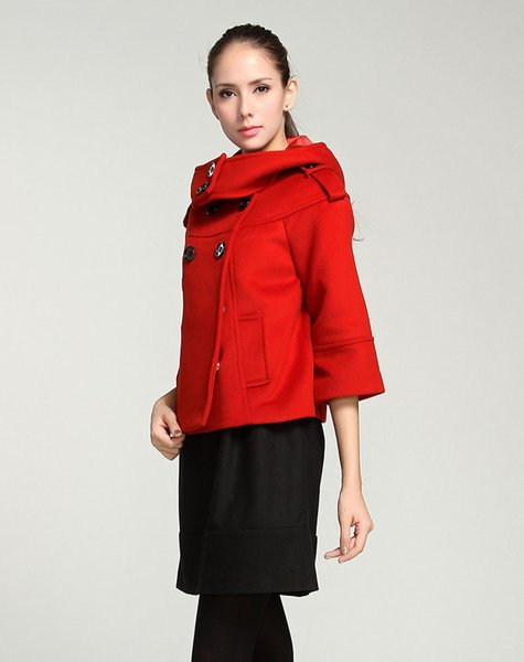 2019 Winter female Wool Coat High Quality Elegant Plus Size Coat short girl outwear women fashion red Jackets #N18