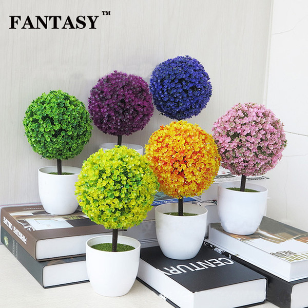 FANTASY Artificial Small Tree Bonsai Simulation Plant Pot Fake Landscape Plastic Plant Tree With Vase for Home Table Decoration