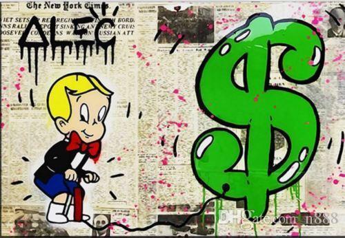 Haute Qualité Peint À La Main HD Imprimer Graffiti Pop Art Peinture À L'huile Journal Richie Rich Sur Toile Pour La Décoration Murale Multi Tailles / Cadre g256