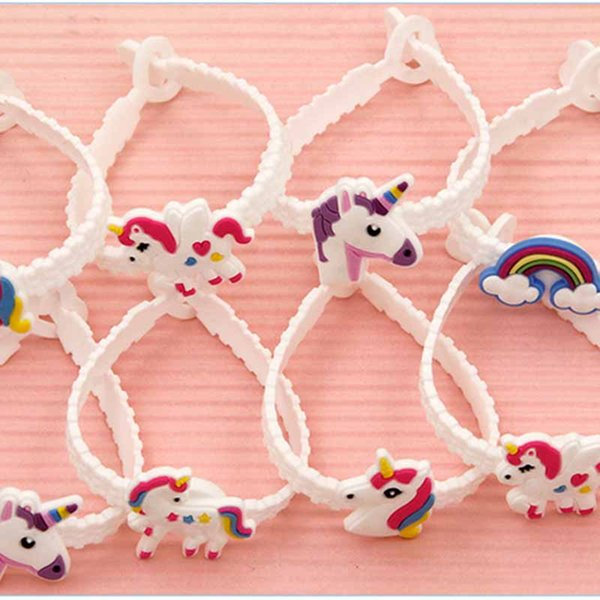 Children Charm Unique Unicorn Bracelets Girls Boys Birthday Party bag fillers Kids Baby Silicone Wristband Child Toy -P