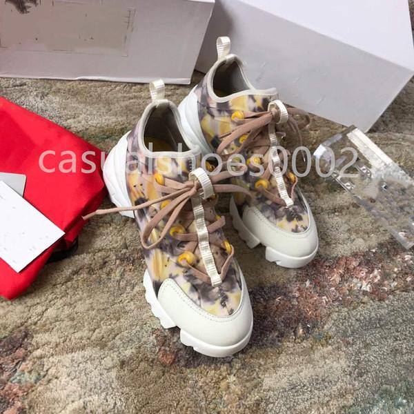Diseñador de lujo 2019 mujer Tecnología entrenadores deportivos top moda cártamo amarillo zapatos de plataforma de cuero zapatos de fiesta casual zapatos de vestir L1
