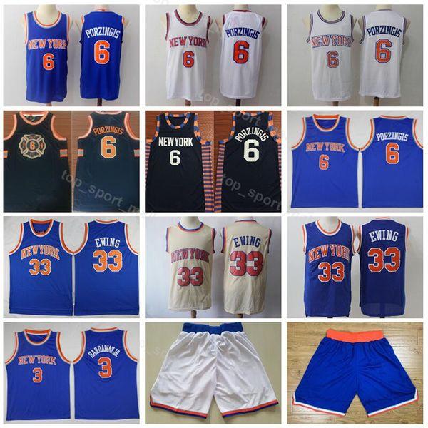 size 40 a5a76 73b5d 2019 Men Knicks Jersey New York Basketball 6 Kristaps Porzingis 3 Tim  Hardaway Jr 33 Patrick Ewing City Edition Short Uniform Blue White From ...