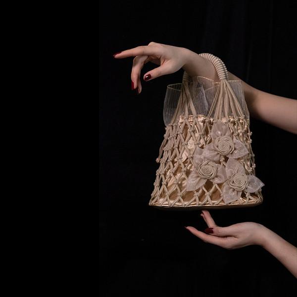 Kadınlar Dantel Çanta Net Vintage Totes Çiçek Dokuma Çanta Akşam Çanta El Yapımı Naylon Düğün Gelin Çanta Moda Bayan Çanta