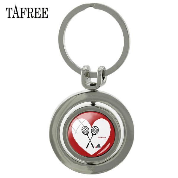 TAFREE Metal Rotating I Love Badminton Keychain Double Sides Glass Cabochon Rotatable Key Chian Rings Holder Sp918