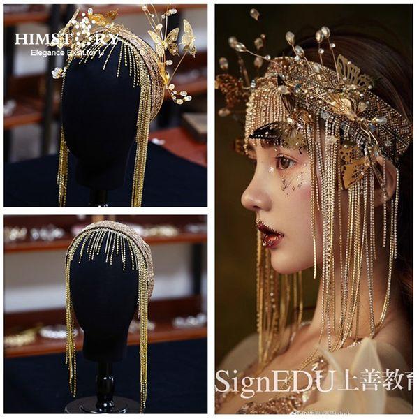 Himstory Splendide fasce per spose europee vintage Lunghe nappe Farfalla dorata Accessori per capelli Accessori per capelli