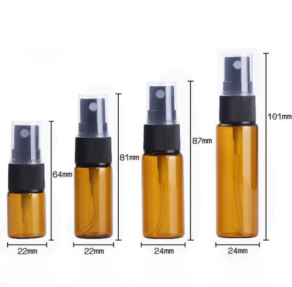 De alta calidad 5 ml 10 ml 15 ml 20 ml Cristal de ámbar Botellas de aceite esencial Botella de spray de vidrio líquido E con tapas de spray negro