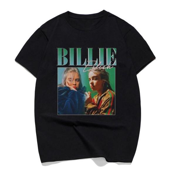 Camisetas Billie Eilish Print 90s Vintage Black T-Shirt Brand T Shirt Hombres / mujeres Tops Tee 100 Cotton Casual Black Street Clothing
