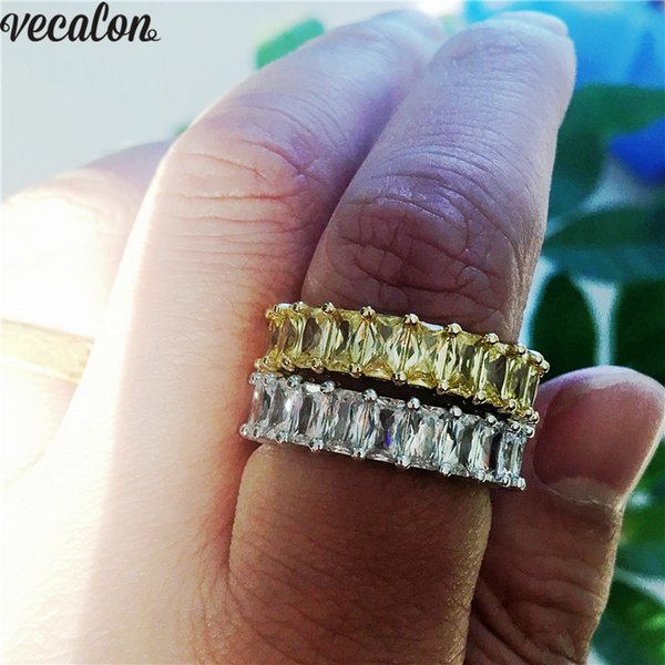 Vecalon Lovers Promise Ring 925 sterling silver Princess cut Diamond Cz Party Wedding band rings for women Finger Jewelry