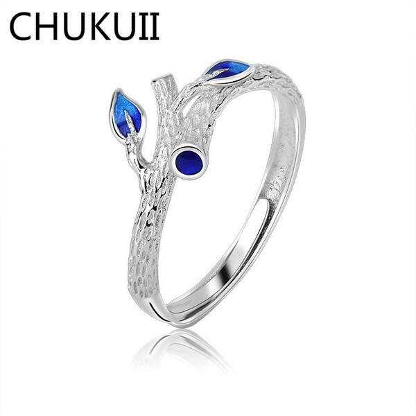 CHUKUI Kadınlar Kız Ayarlanabilir Parmak Yüzük Moda Ağacı Şubesi Mavi Emaye Işi Yüzükler Mücevherat