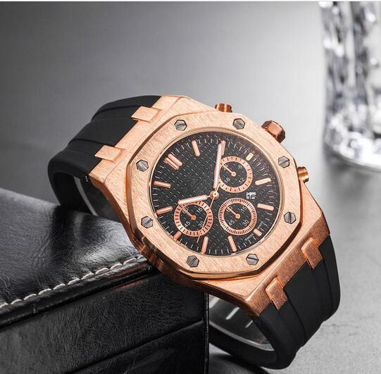 best selling Brand Mens Mechanical Watches Royal Oak High Quality Luxury Crystal Silicone strap Designer Watch man Ladies women Casual watch 10 styles