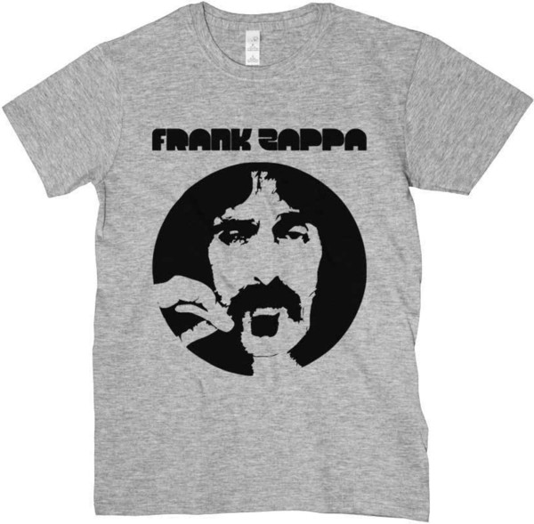 T-shirt Frank Zappa, t-shirt grigia, logo music, rock psichedelico anni 70